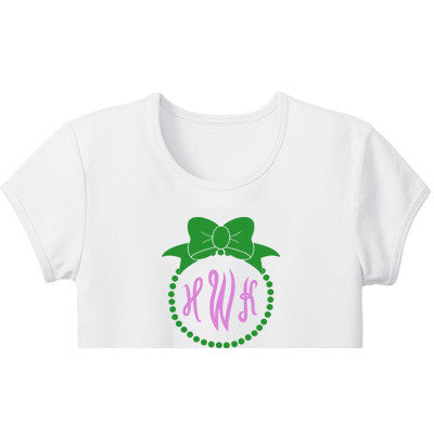 Monogrammed Tee Shirt<br>  Initials and Bow - Moonbeam Baby