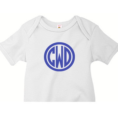 Monogrammed Onesie<br> Circle Design - Moonbeam Baby