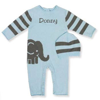 Personalized Romper & Hat Set <br> Elephant Blue - Moonbeam Baby