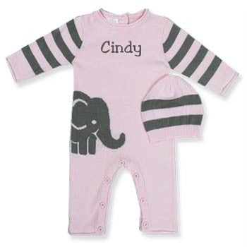 Personalized Romper & Hat <br> Elephant Pink - Moonbeam Baby