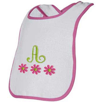 Embroidered Bib<br> Raspberry Trim with Flowers - Moonbeam Baby