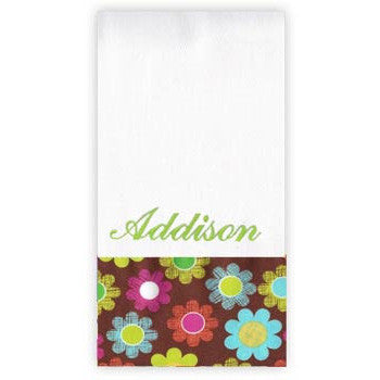 Personalized Burp Cloth<br> Flowers on Brown - Moonbeam Baby