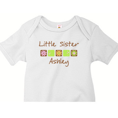 Little Sister Onesie<br>Flower Squares (Brown) - Moonbeam Baby