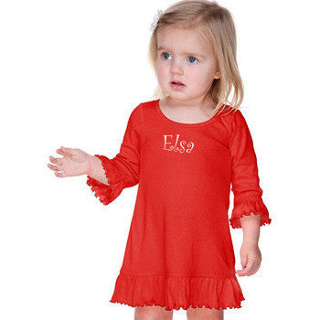 Girls Ruffled 3/4 Sleeve A-Line Dress - Red - Moonbeam Baby