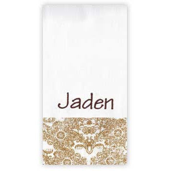 Personalized Burp Cloth<br> Gold Damask - Moonbeam Baby