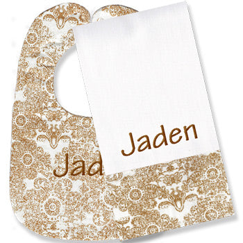 Personalized Gold Damask Bib/Burp Set