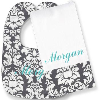 Personalized Bib/Burp Set <br> Grey Damask