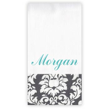 Personalized Burp Cloth<br> Grey Damask