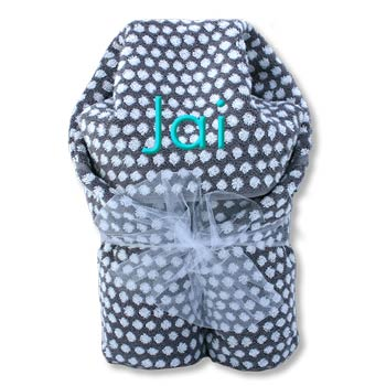 Hooded Towel <br> Grey and White Dots