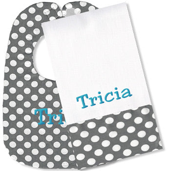 Personalized Bib/Burp Set <br> Grey Dots
