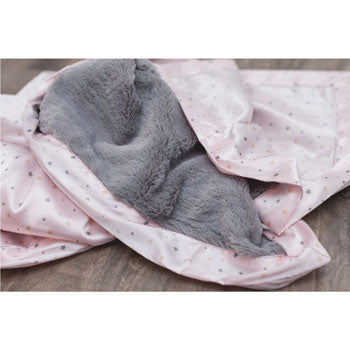 Personalized Lush Mini Blanket (15x20) <br> Grey Lush - Pink Twinkle Star