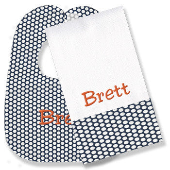 Personalized Bib/Burp Set <br> Navy Honeycomb Dots