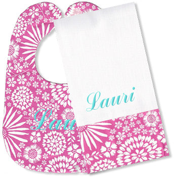 Personalized Bib/Burp Set <br> Hot Pink Flowers