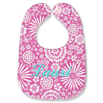 Monogrammed Bib<br> Hot Pink Flowers