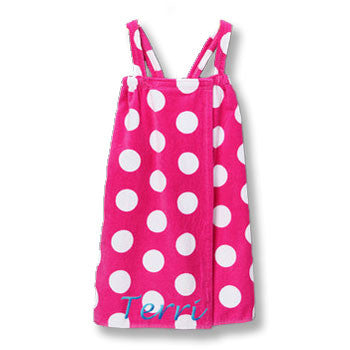 Personalized Girl's Spa Wrap<br>  Hot Pink/White Polka Dot Velour - Moonbeam Baby