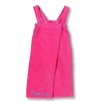 Personalized Girl's Spa Wrap<br>  Hot Pink Velour - Moonbeam Baby