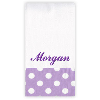 Personalized Burp Cloth<br> Lavender Dots