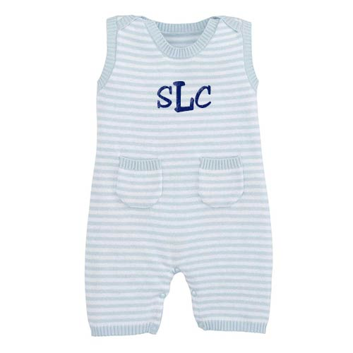 Personalized Striped Shortall <br> Light Blue