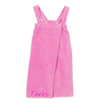 Personalized Girl's Spa Wrap<br>  Light Pink Velour - Moonbeam Baby