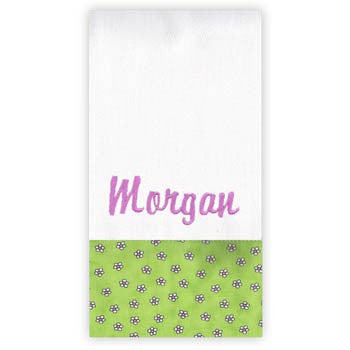 Personalized Burp Cloth<br> Lime Daisy - Moonbeam Baby