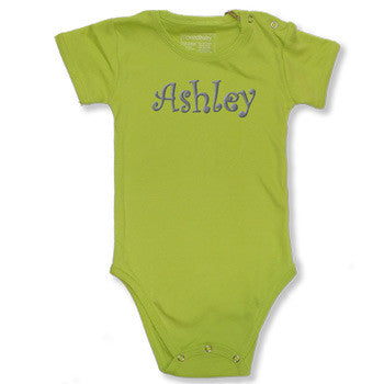 Personalized Onesie - Lime Green Short Sleeve - Moonbeam Baby
