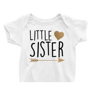Little Sister Onesie<br> Gold Heart and Arrow