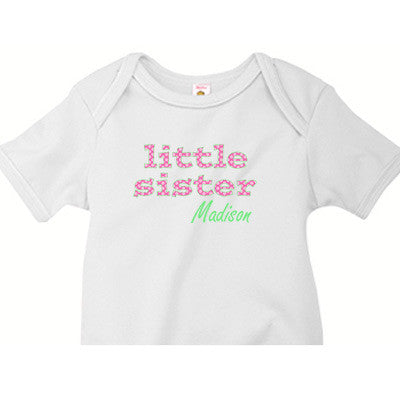 Little Sister Onesie<br> Hot Pink Polka Dots - Moonbeam Baby