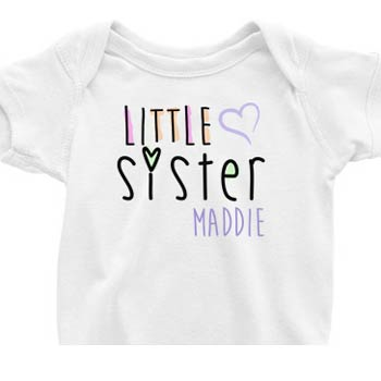 Little Sister Onesie<br>Painted Hearts