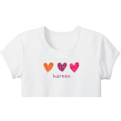Little Hearts Custom Girls Tee - Moonbeam Baby
