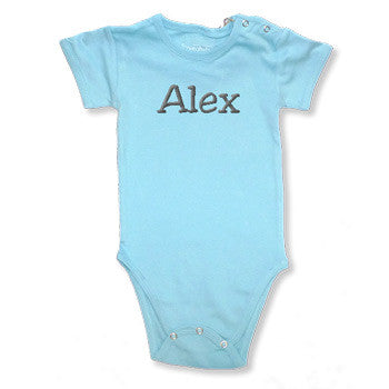 Personalized Onesie - Aqua Short Sleeve - Moonbeam Baby