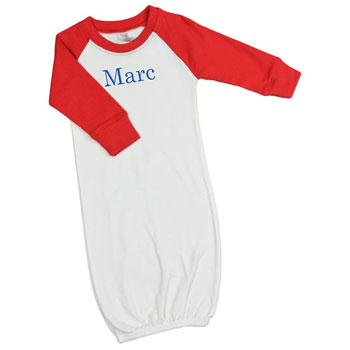 Personalized Baby Gown - Raglan Red