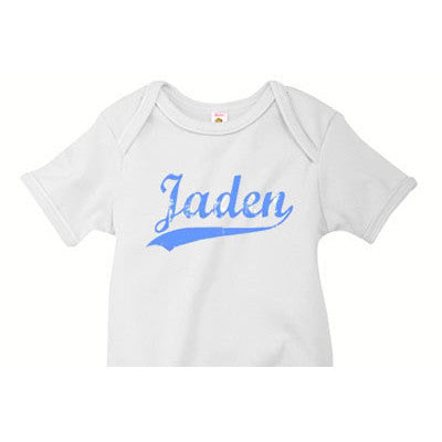 Name Jersey Distressed Look Custom Onesie - Moonbeam Baby