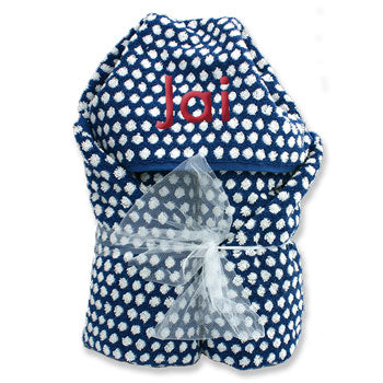 Hooded Towel <br> Navy and White Dots