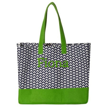 Brookson Bay Beach Tote<br> Navy & Green