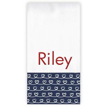 Personalized Burp Cloth<br> Navy Swirly Hearts