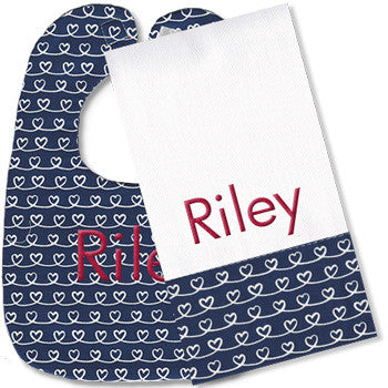 Personalized Bib/Burp Set <br> Navy Swirly Hearts