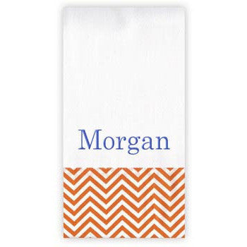 Personalized Burp Cloth<br> Orange Chevrons - Moonbeam Baby