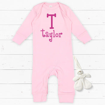 Personalized Bodysuit - Light Pink Long Sleeve<br> Name and Initial
