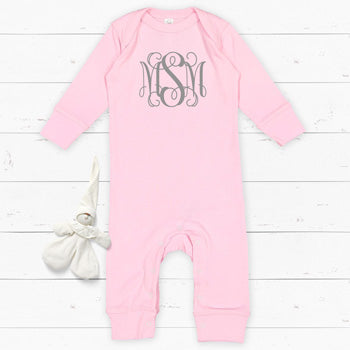 Personalized Bodysuit - Light Pink Long Sleeve<br> Interlocking Vines