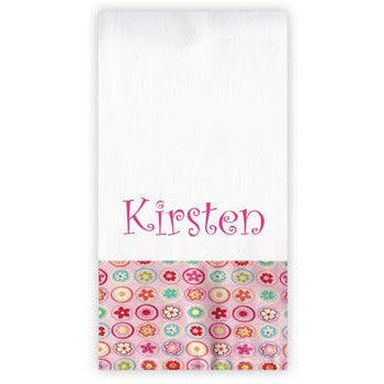 Personalized Burp Cloth<br> Pink Floral Circles - Moonbeam Baby