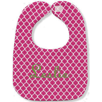 Personalized Bib - Hot Pink Quatrefoil - Moonbeam Baby