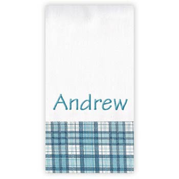Personalized Burp Cloth<br> Apollo Plaid Blue