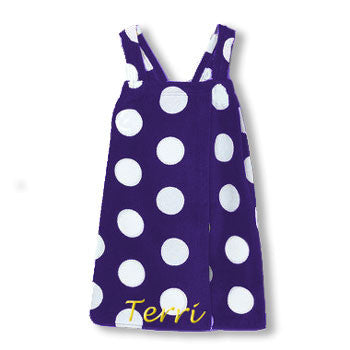 Personalized Girl's Spa Wrap<br>  Purple - White Polka Dot Velour - Moonbeam Baby