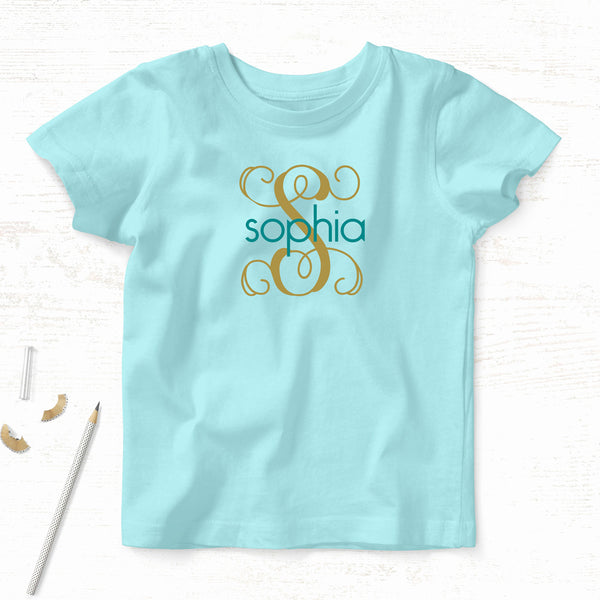 Personalized Girl's Name Tee<br>Interlocking Vines