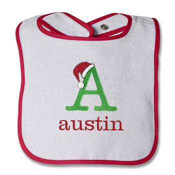 Red Trimmed Bib Christmas Initial - Moonbeam Baby