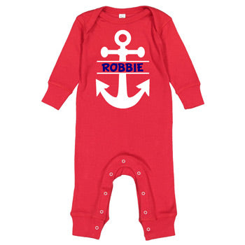 Personalized Bodysuit - Red Long Sleeve<br> Anchor