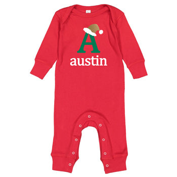 Red Long Sleeve Bodysuit<br> Christmas Initial