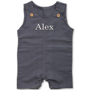 Personalized Romper - Boy's Grey