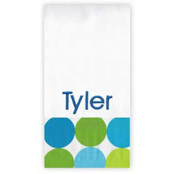 Personalized Burp Cloth<br> Spa Blue Circles - Moonbeam Baby