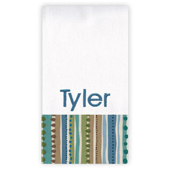 Personalized Burp Cloth<br> Teal Playtime Stripes - Moonbeam Baby